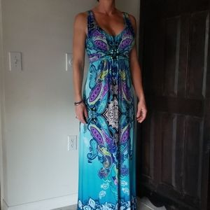 Multi Color Stretch Maxi Dress